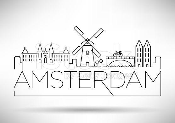 Amsterdam City Line Silhouette Typographic Design Typographic