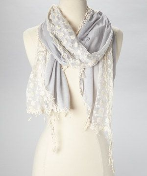 Look at this #zulilyfind! The Accessory Collective Gray & Cream Lace Scarf by The Accessory Collective #zulilyfinds