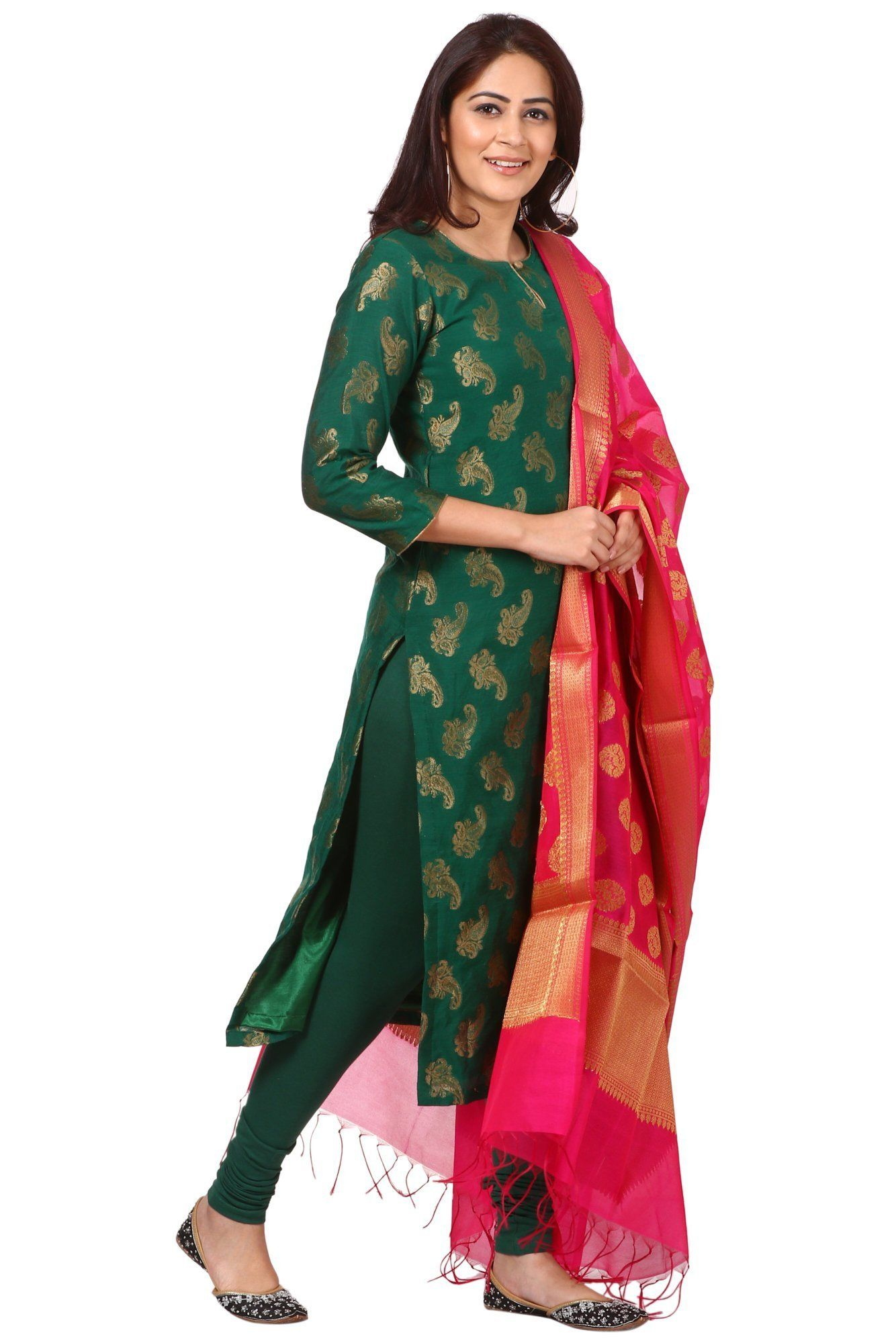 c221dec684 anokherang   Green Royal Paisley Kurti with Leggings and Pink Chanderi  Banarsi dupa   Ethnic Fashion in all sizes from XS to Plus Sizes