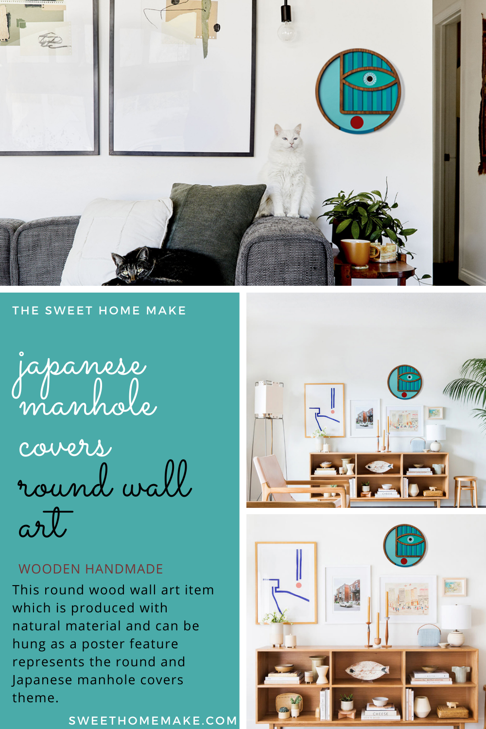 Japanese Manhole Covers To Round Wood Wall Decor By Umasqu In 2020 Round Wall Art Japanese Decor Wall Decor