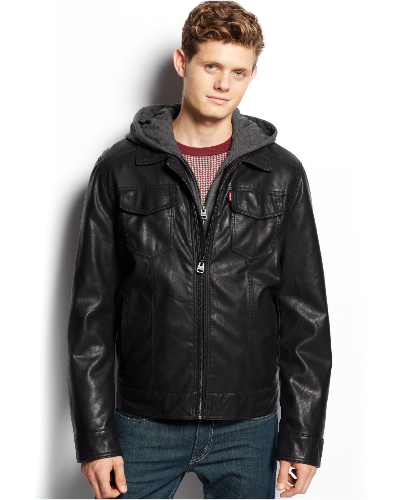Levi's Hooded Faux Leather Trucker Jacket Coats