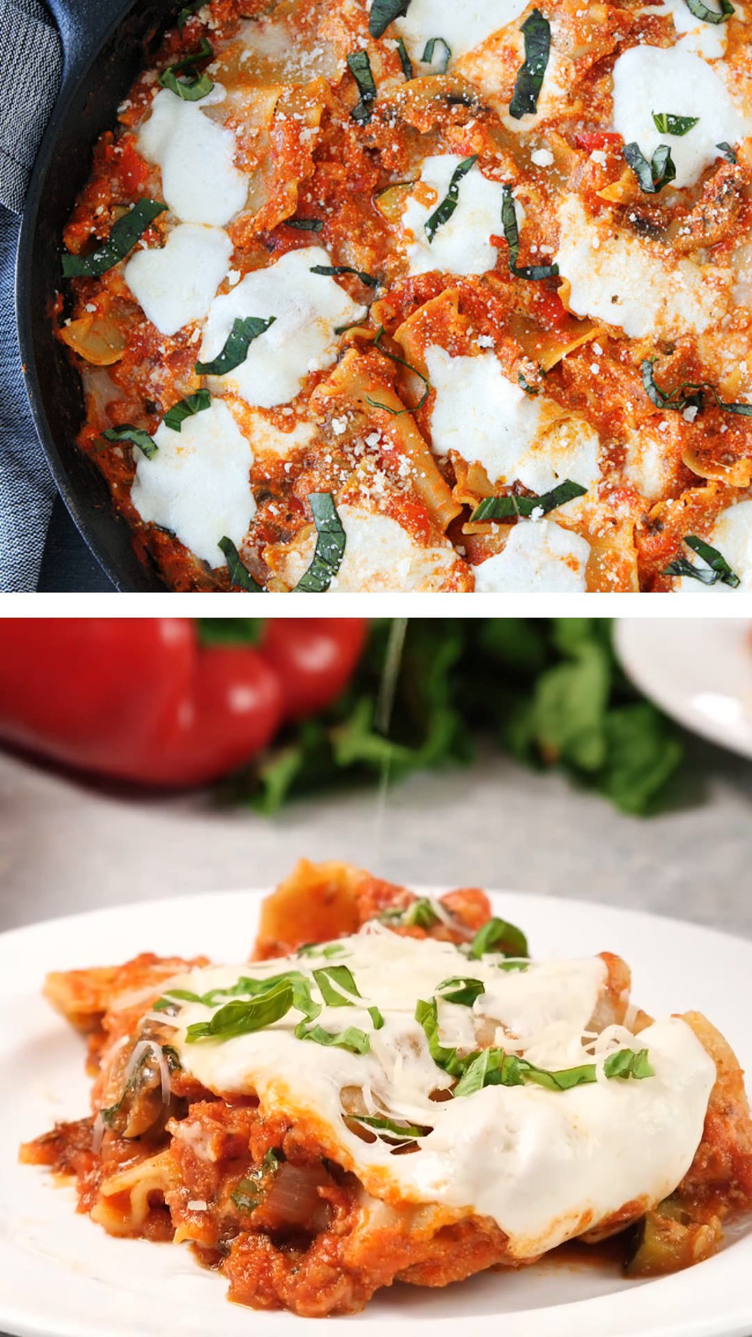 Easy Skillet Vegetable Lasagna is a  shortcut version of classic lasagna made in one skillet great weeknight meal! This lasagna is actually loaded with veggies, marinara sauce and lots of cheese. Best skillet vegetable lasagna your family should taste.
