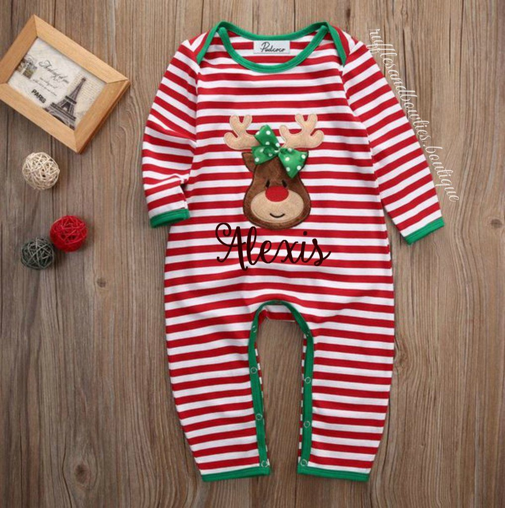 Baby Girl Infant Christmas Holiday Red Green and White Stripe Holiday  Romper Sleeper Matching family Pyjamas dd6e1981a
