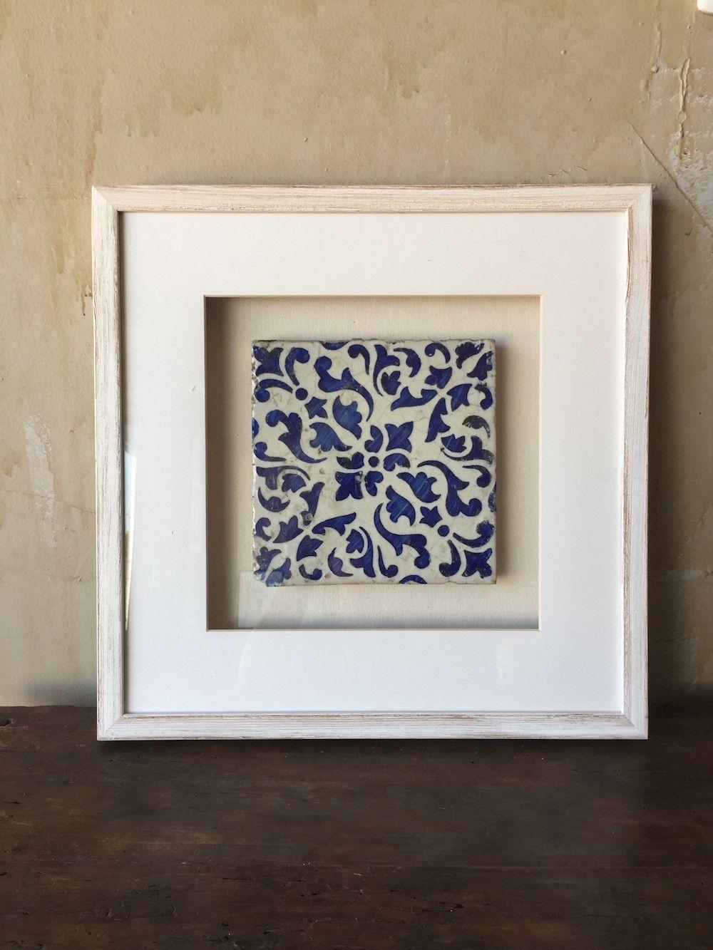 framed italian antique tile cobalt