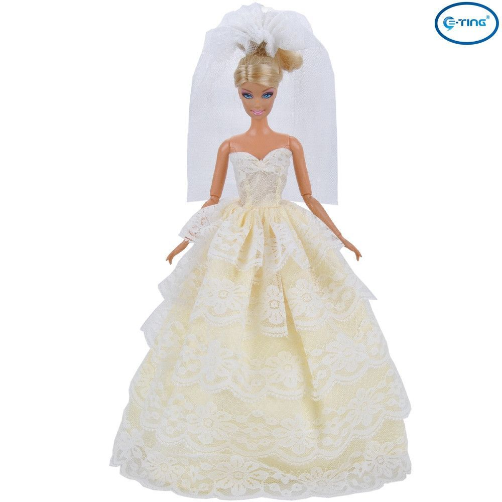 Doll wedding dress  ETING Handmade Dolls Clothes Princess Dress Beige Wedding Party