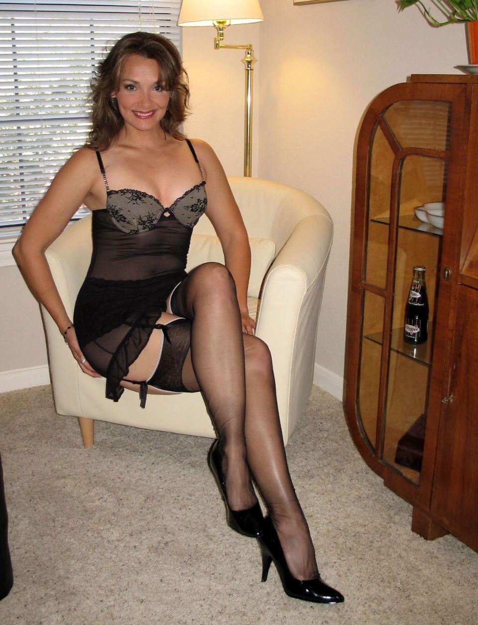 in satin lingerie brunette woman black Mature