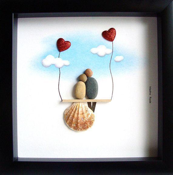 Hochzeit Art-Pebble Art-Pebble Picture-Unique Wedding Gift-Personalized Hochzeit #personalizedwedding