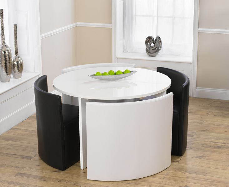 Round table and chairs oslo white high gloss round for Round space saving dining table and chairs
