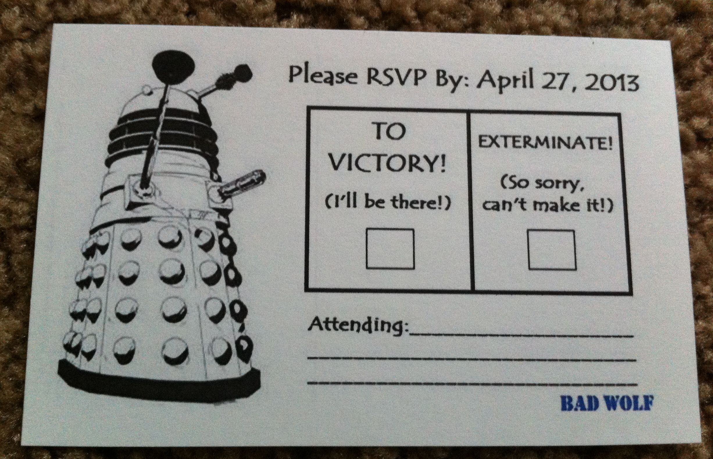 How We Made Our TARDIS Invitations | Dalek, Tardis and Rsvp