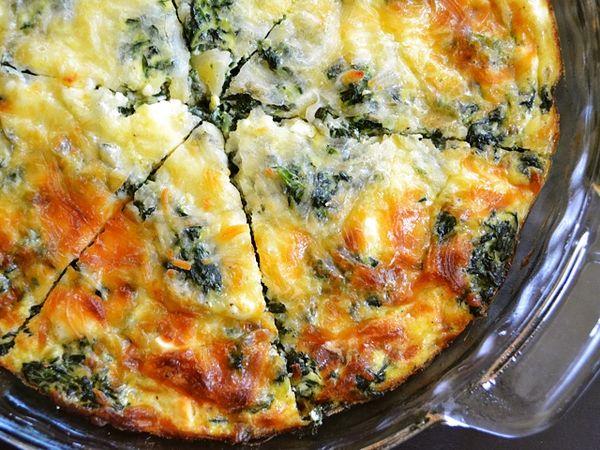 Spinach, mushroom, and feta crustless quiche
