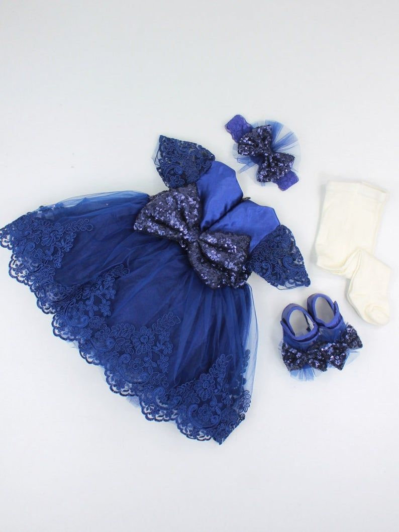 Baby Girl Royal Blue Lace Wedding Dress Set  Etsy  Blue lace