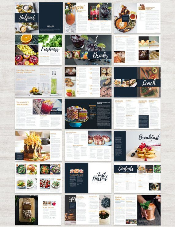 cookbook and recipe template for adobe indesign instant printable