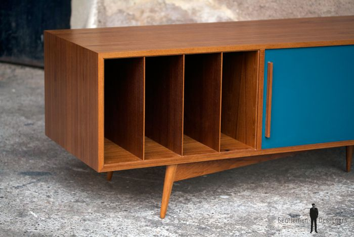 Gentlemen Designers Meuble Vonyle Bas Tv Scandinave Double Fond Sur Mesure Made In France Teck Style Vintage Meuble Buffe Record Storage Design Furniture
