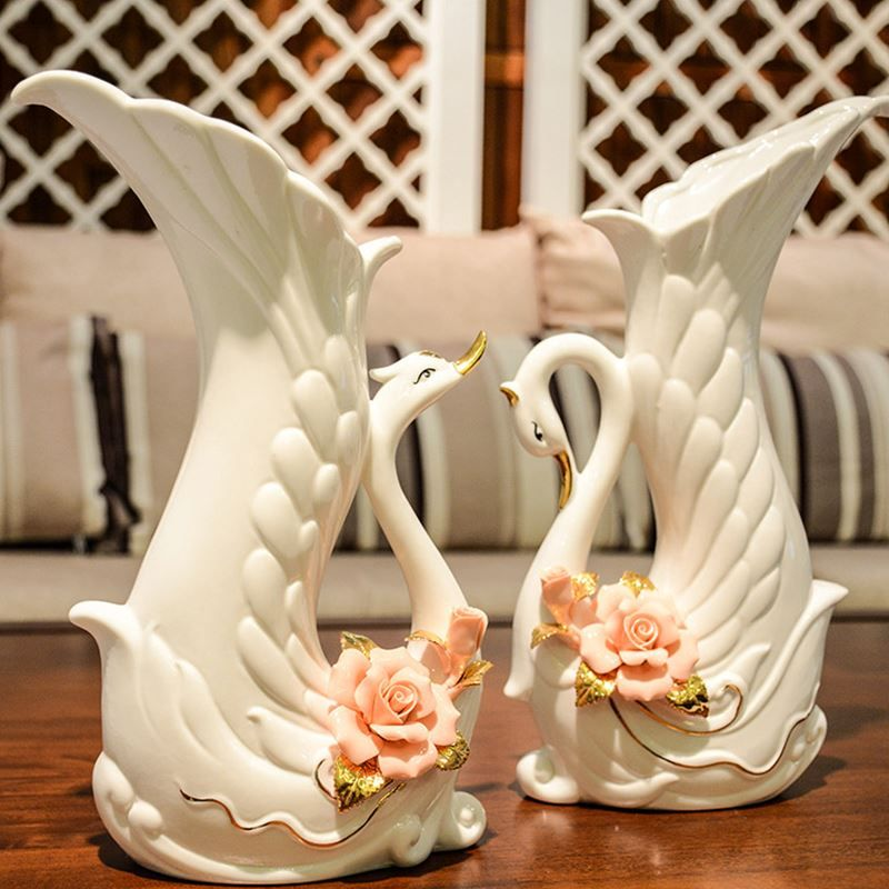 Cisne moda creativa flores abstractas florero olla de - Ceramica decoracion ...