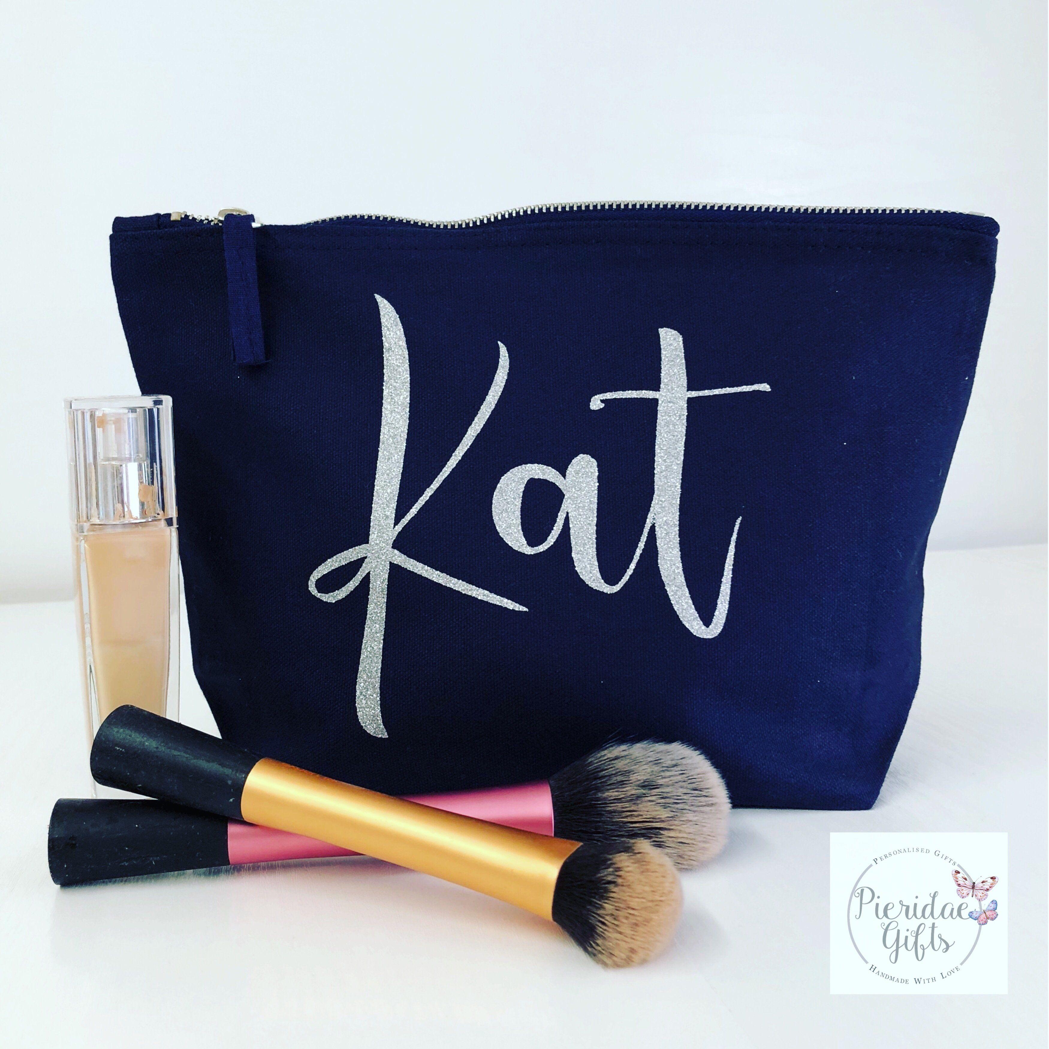Personalisierte NAVY Make Up Tasche – Weiß