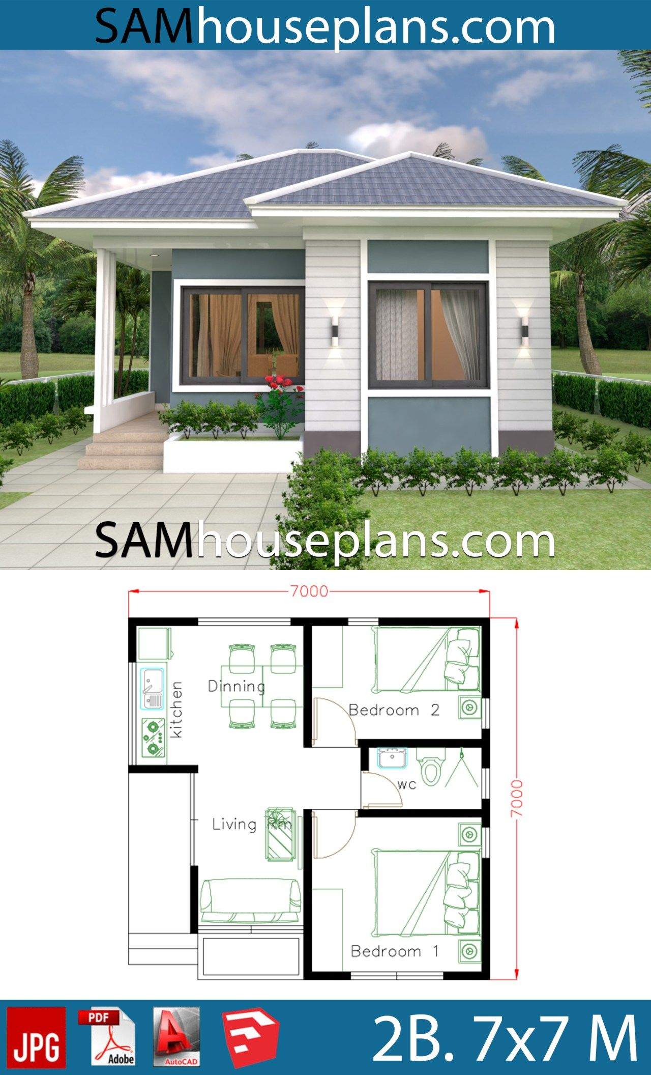 House Plans 7x7 With 2 Bedrooms Full Plans Sam House Plans Small House Design Plans Small House Design House Plans