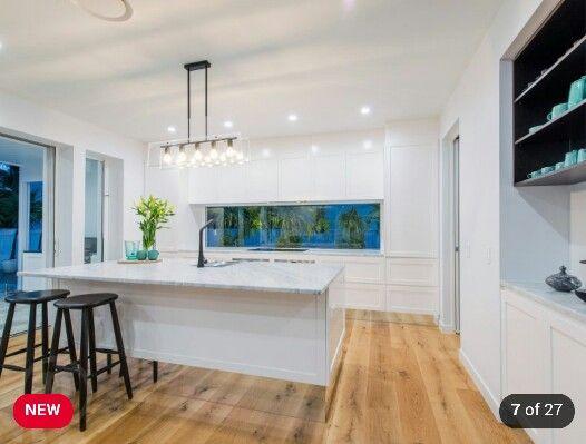 Mirror Kickboards In Kitchen, Floating Cabinets