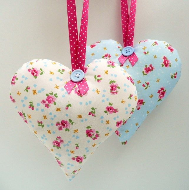 Pretty Lavender Heart Hanging Decoration Lavender Crafts Lavender Heart Fabric Hearts