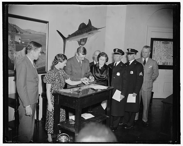 3/21/39: White House personnel fingerprinted following suggestion of the President. Washington, D.C