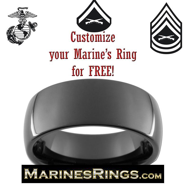 Dome Black Tungsten Marines Wedding Graduation Present Custom Engraved With Eagle Globe And Anchor USMC Rank
