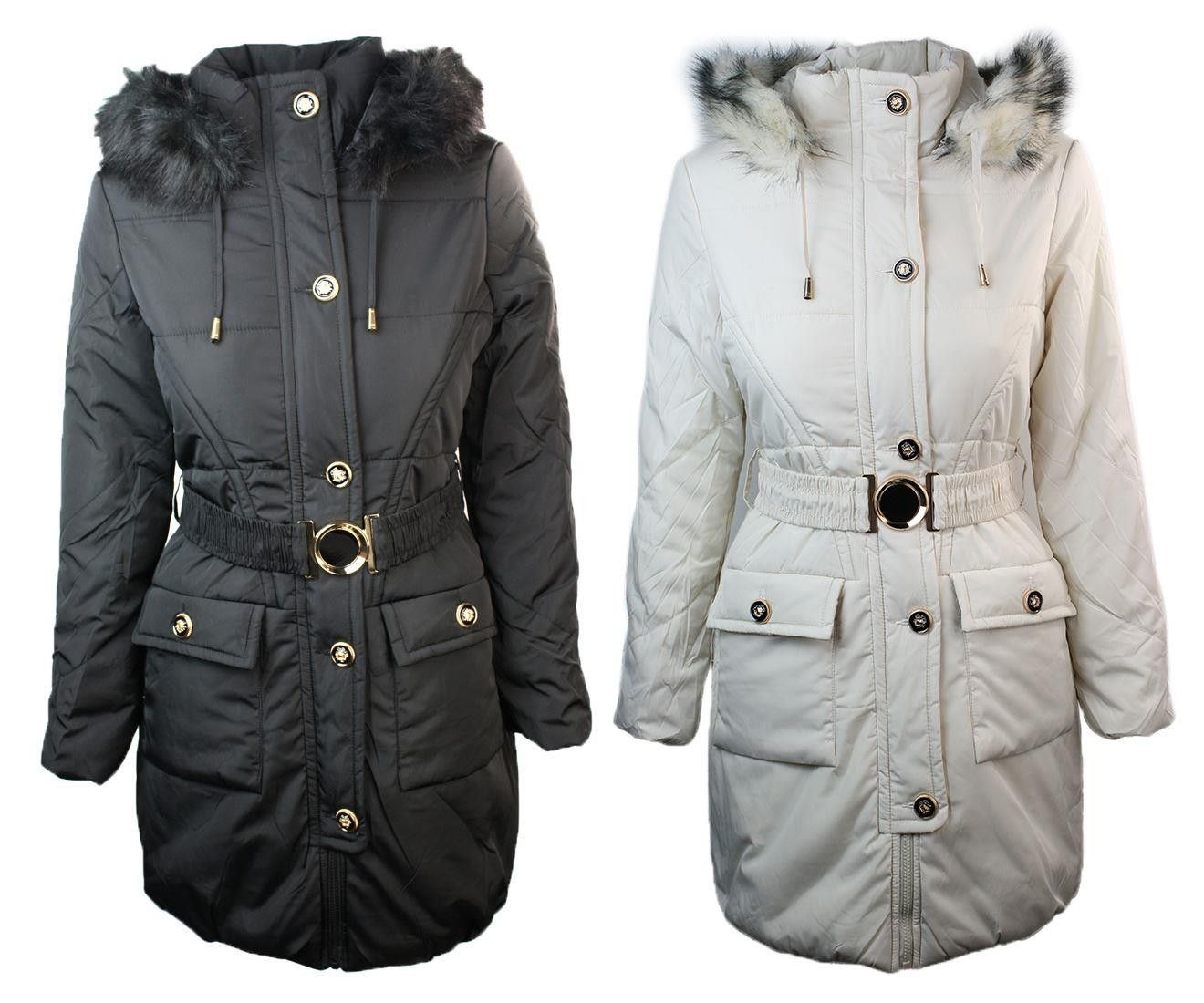 Ladies Winter Quilted Black Off White Warm Puffer Parker
