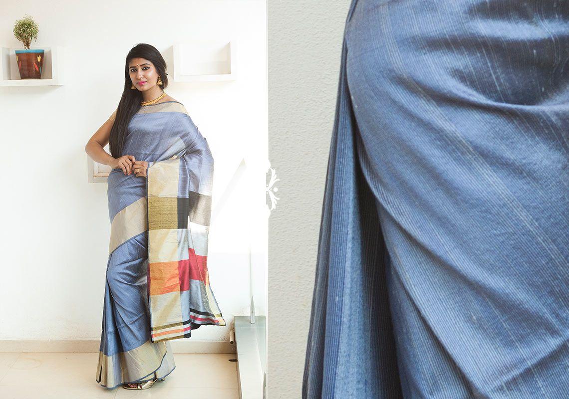 Silk Sarees - Elegant blue Raw silk Zari hand woven saree with striped pallu PC 16645 - Main