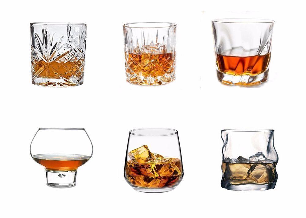 6 whiskey glasses set spirits vodka brandy drinks tumblers