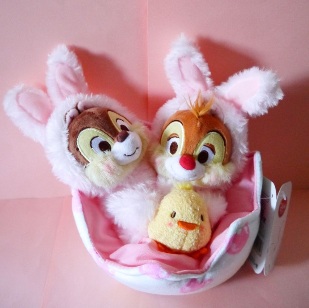 2015 Easter Bunny Disney store Japan Chip Dale Baby chick plush toy egg New pink