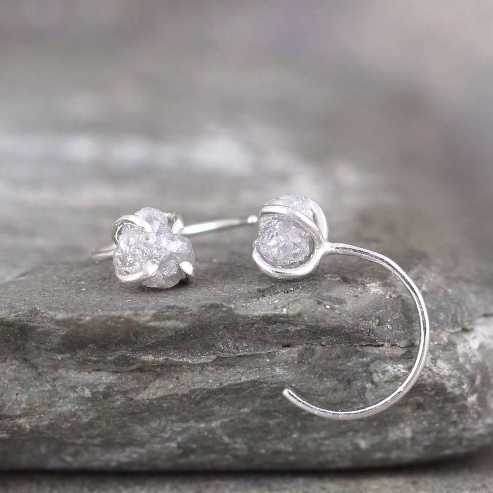 eedeb352a Raw Diamond Huggie Hoop Earrings - Sterling Silver Huggie Earring - Uncut  Rough Natural Diamond - April Birthstone - Made in Canada