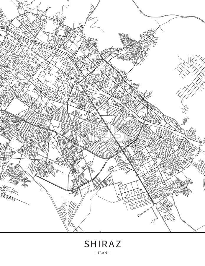 Shiraz Iran Map poster borderless print template Shiraz iran