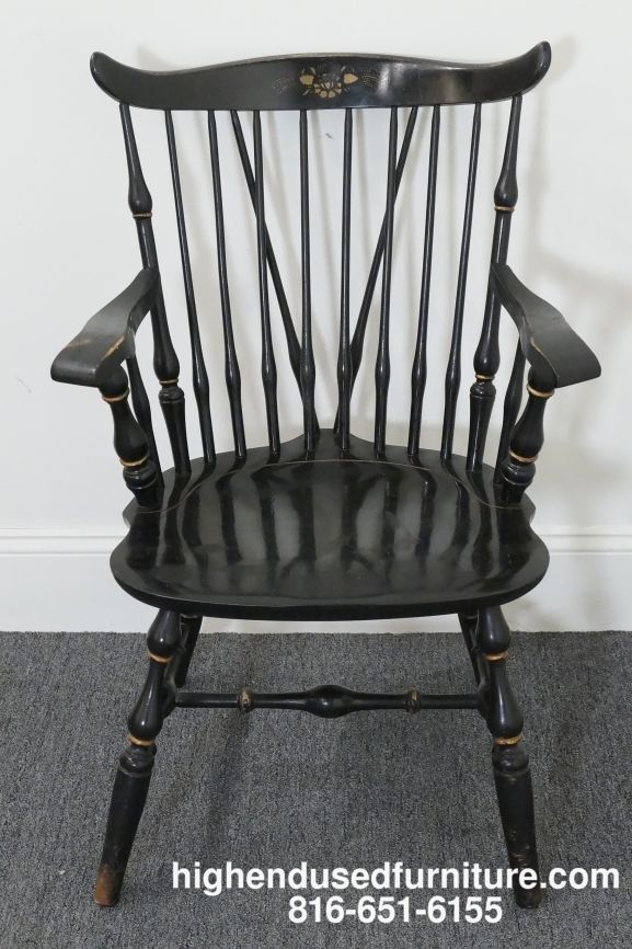 Nichols Stone Black Hitchcock Stenciled Duxbury Windsor Arm Chair Chair Windsor Arm Chair Nichols And Stone