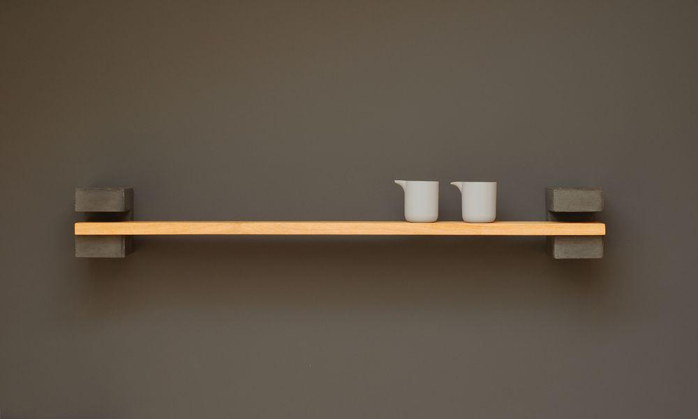 Concrete Shelf Brackets Wooden Shelves Shelves Shelving Design