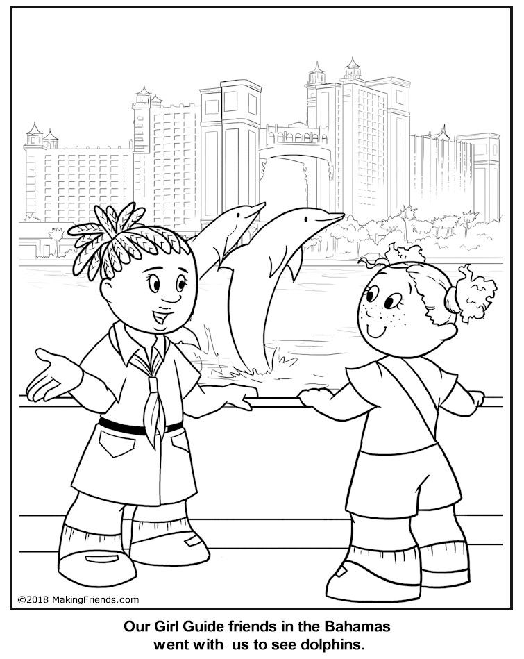 Bahamian Girl Guide Coloring Page Girl Guides World Thinking