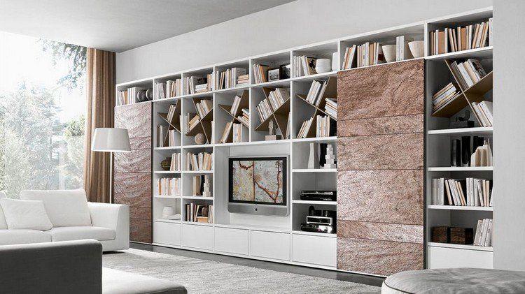 Meuble tv biblioth que en blanc neige et fa ades fa on Meuble tv et bibliotheque