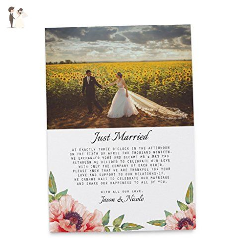Elopement Wedding Announcement Cards, Wedding Marriage Announcement