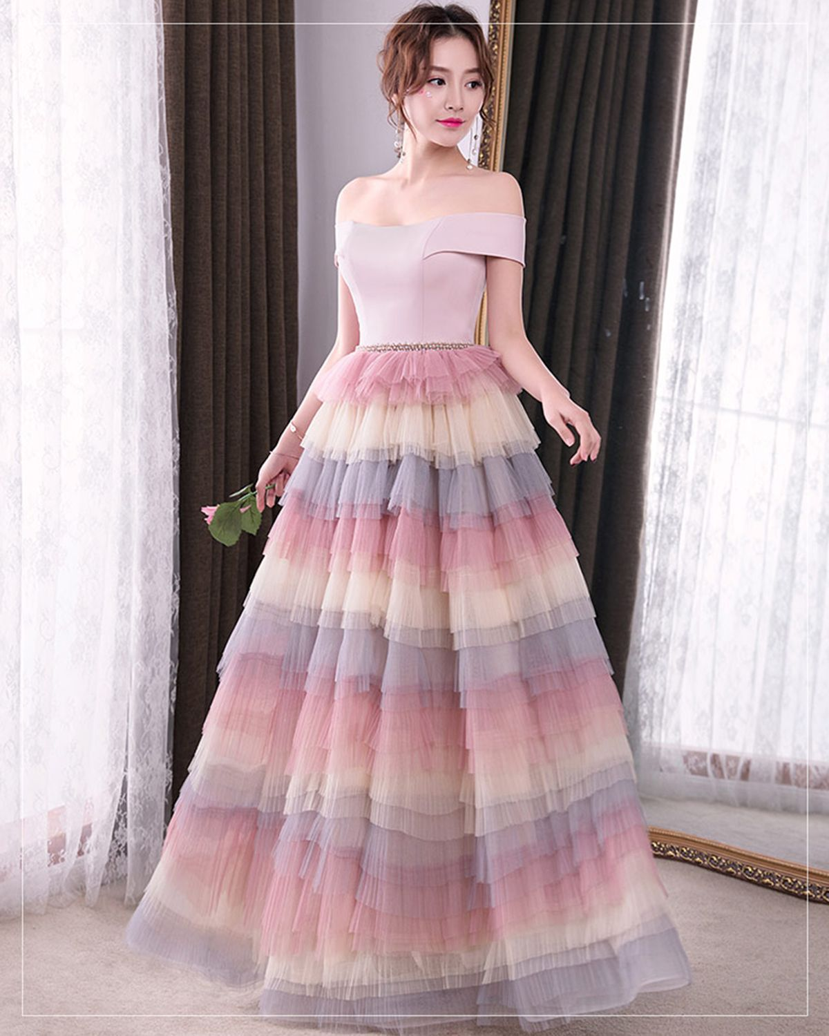 Pink tulle off shoulder long ruffles evening dress #prom #dress ...