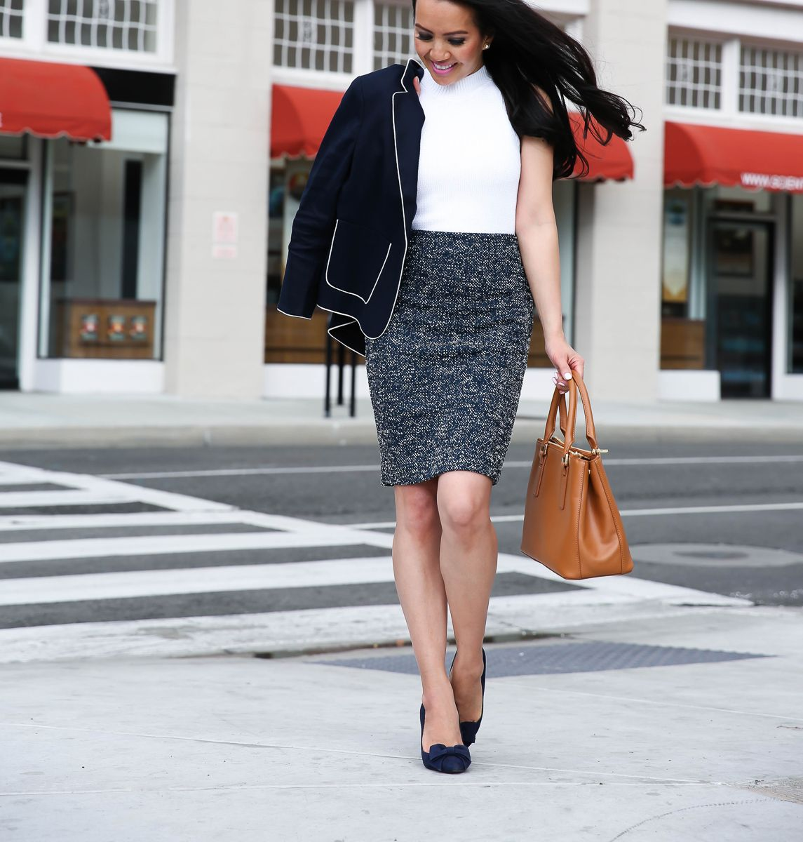 ce01c69f71 Classic spring work business outfit -tweed pencil skirt, navy blazer, bow  pumps, cognac purse