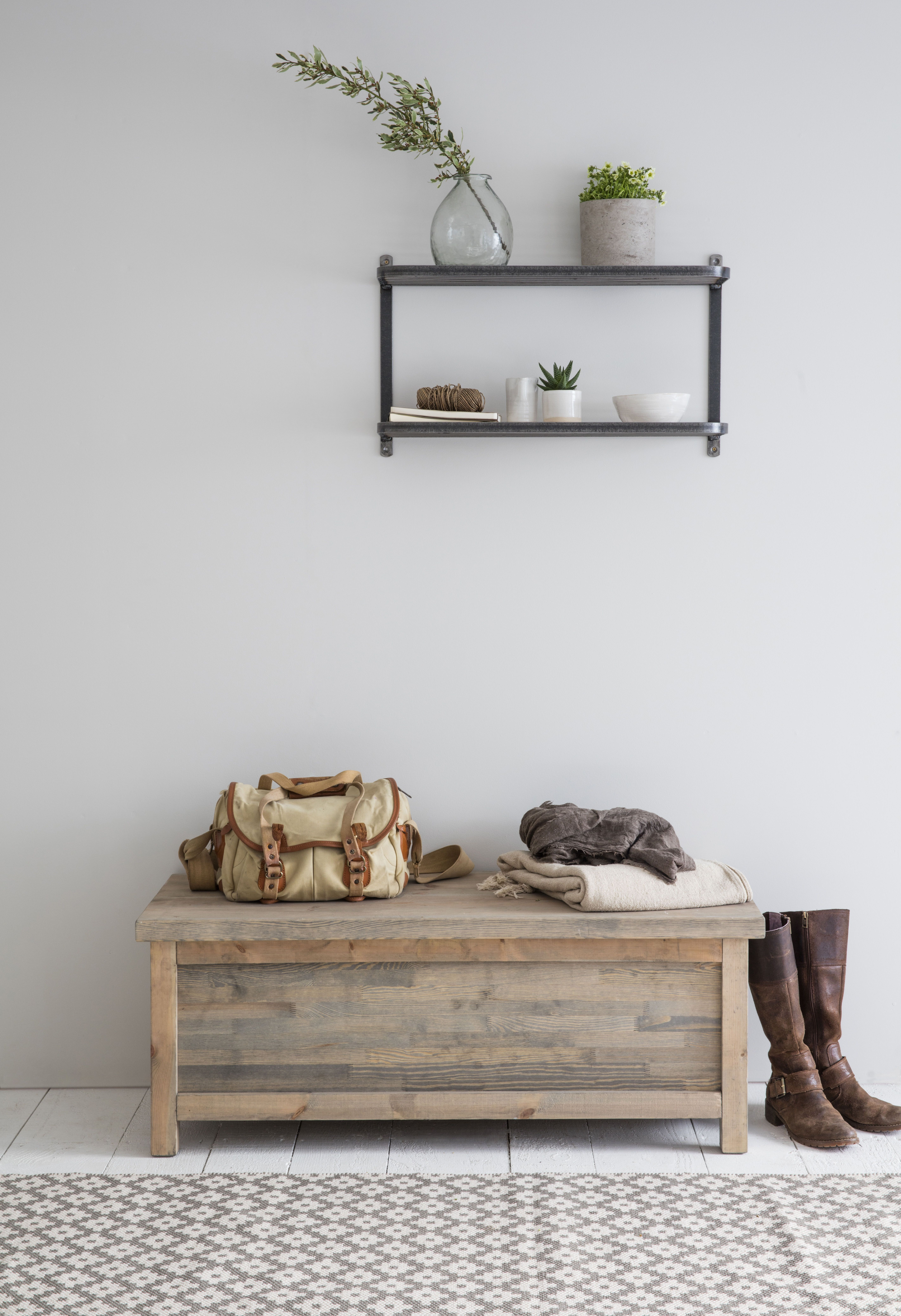 Hallway storage and seating  Wooden Hallway Storage Bench with Rustic Charm  Shoes Bags