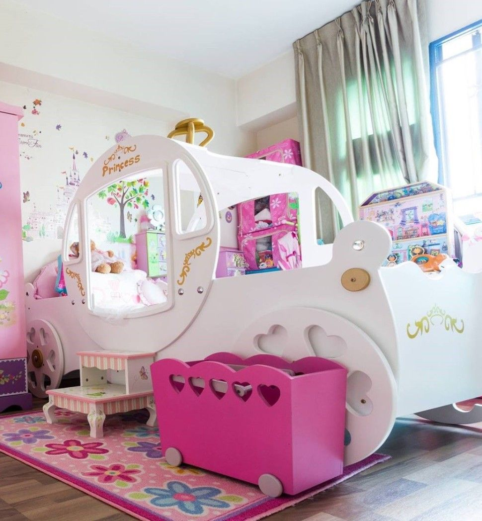 Bedroom Little Girl Room With Long White Modern Cinderella