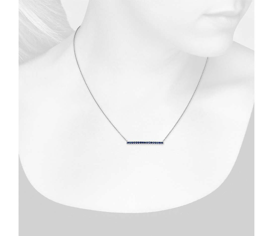 Blue Nile Sapphire Pave Bar Necklace in 14k White Gold (1.5mm) JdicBs