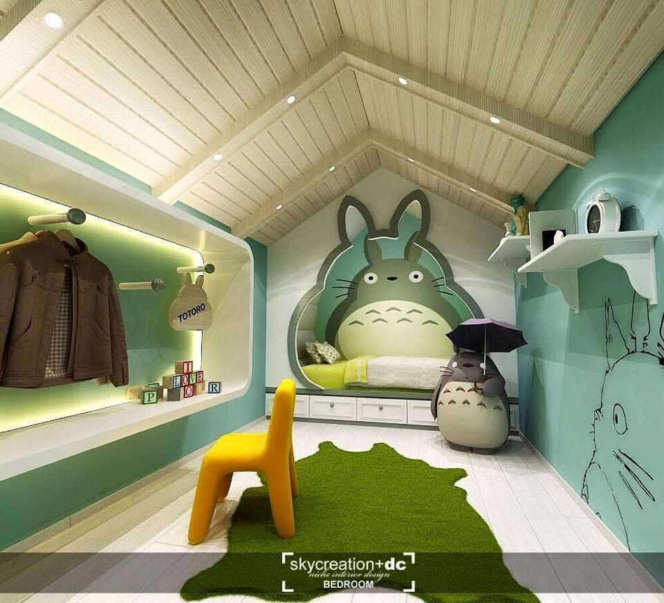 Totoro themed bedroom how artificial grass gain the for Space themed bathroom accessories