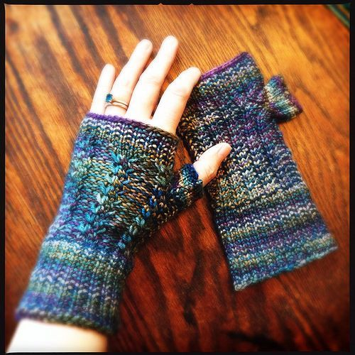Loom knit fingerless mitts.