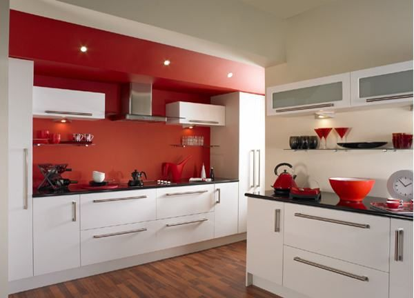 Beautiful Red And White Kitchen Design Great Pictures