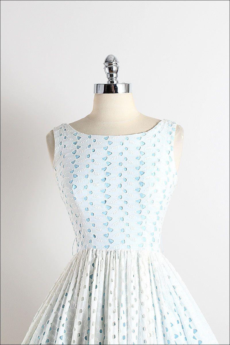 Vintage s dress vintage s dress white eyelet cotton xs