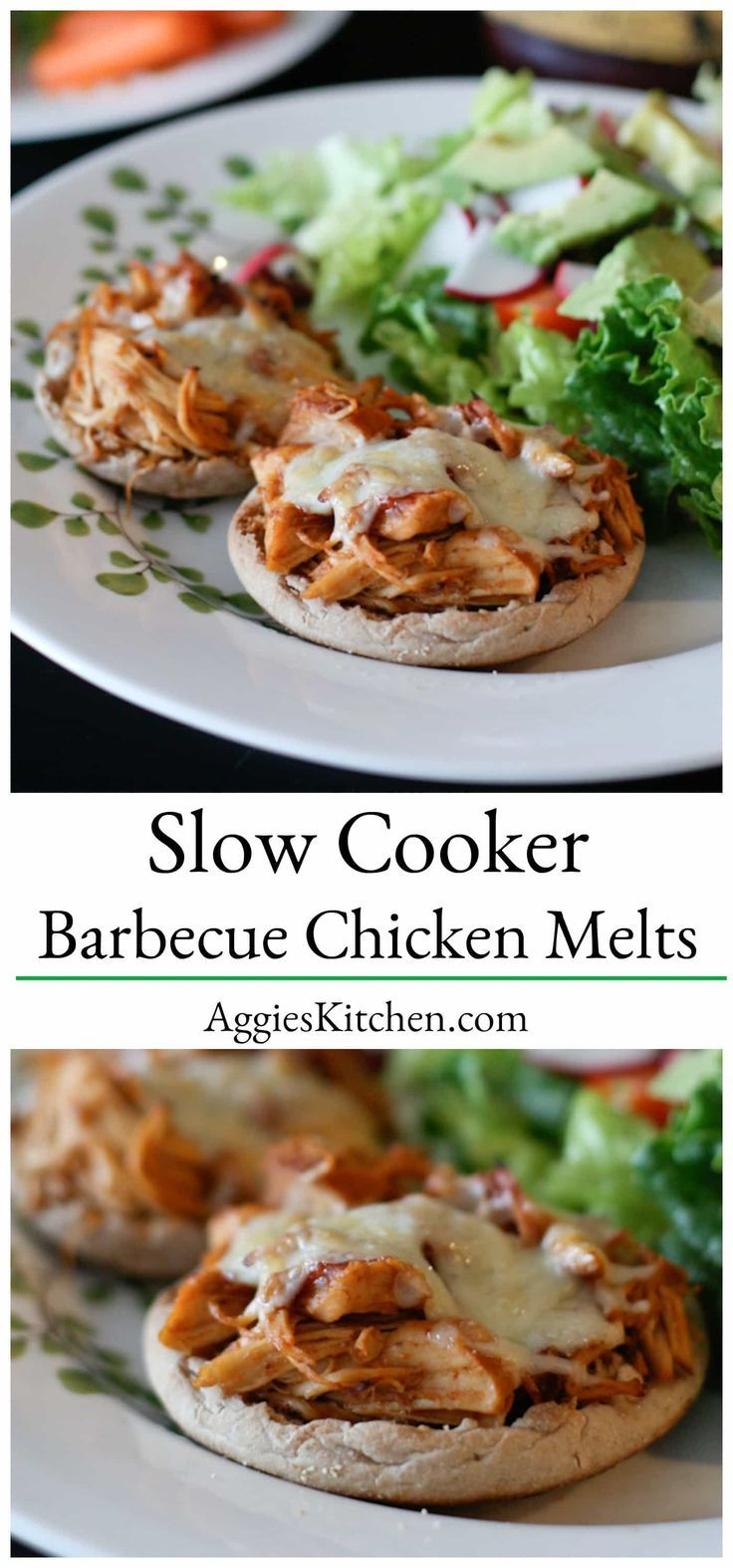 Slow cooker barbecue chicken melts barbecue chicken for Healthy slow cooker chicken recipes