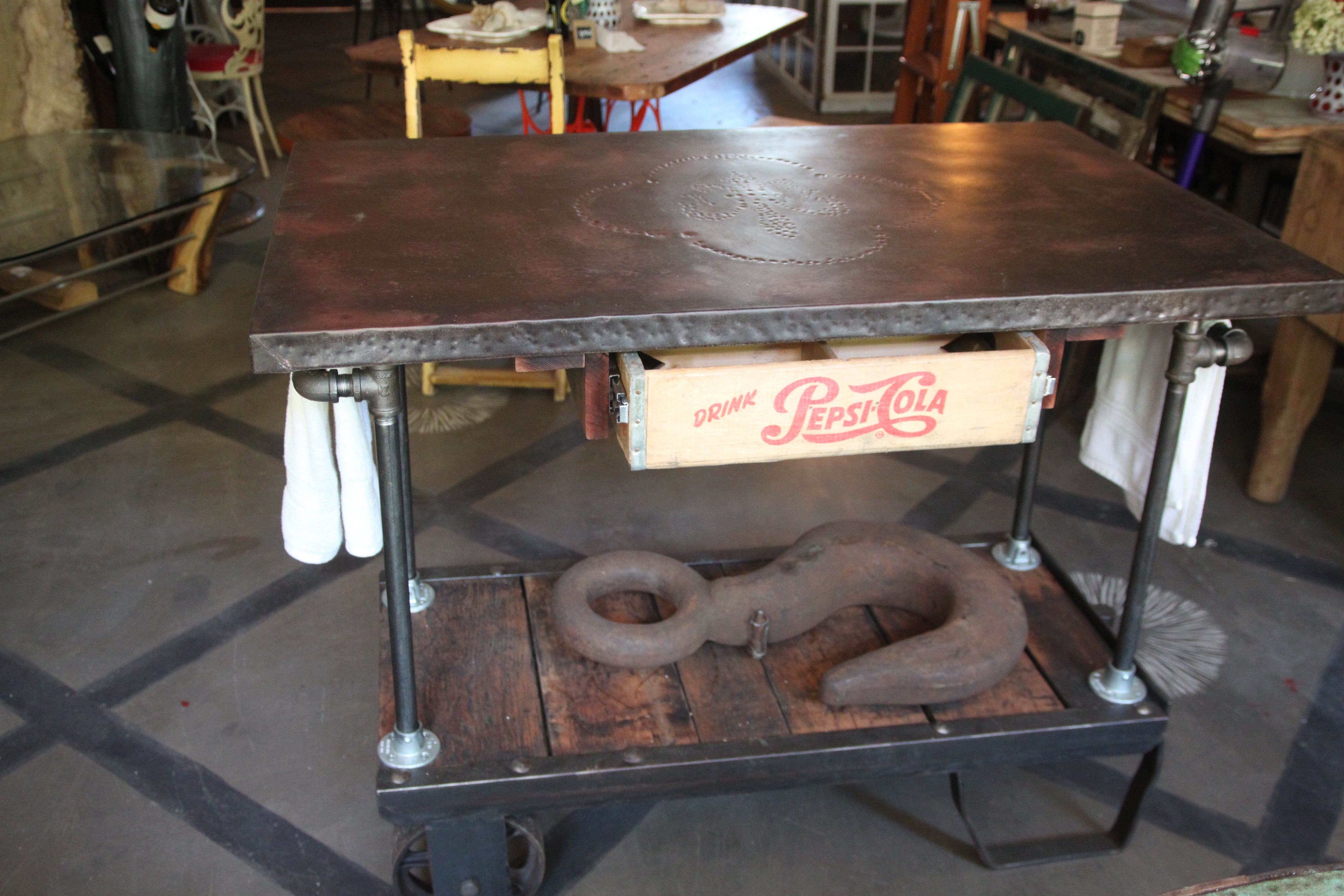Vintage Factory Cart Base With A Zinc Top Rolling Kitchen Island With Reclaimed Vintage Pepsi Crate D Rolling Kitchen Island Rustic Dining Table Unique Tables