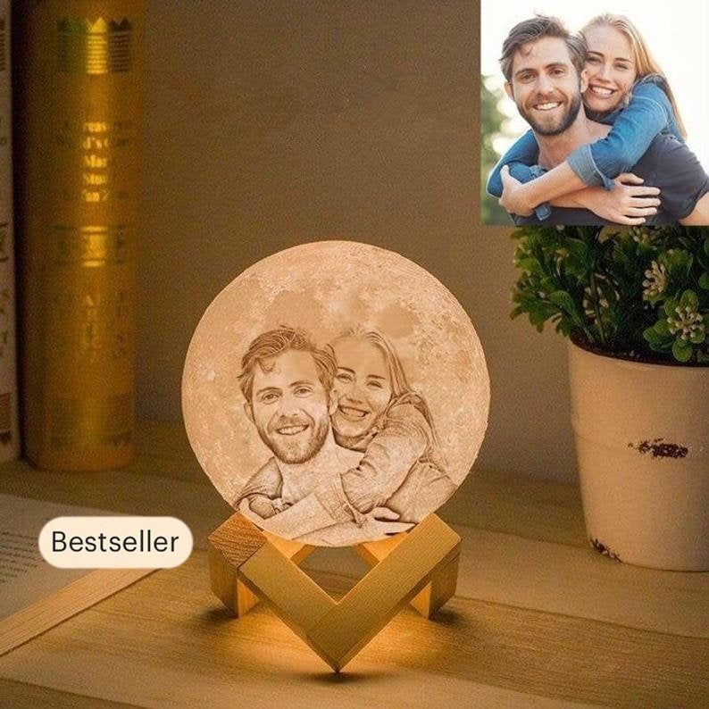 Custom 3d Photo Moon Lamp Personalized Gift With Your Etsy In 2020 Moon Light Lamp Photo Lamp Night Lamps