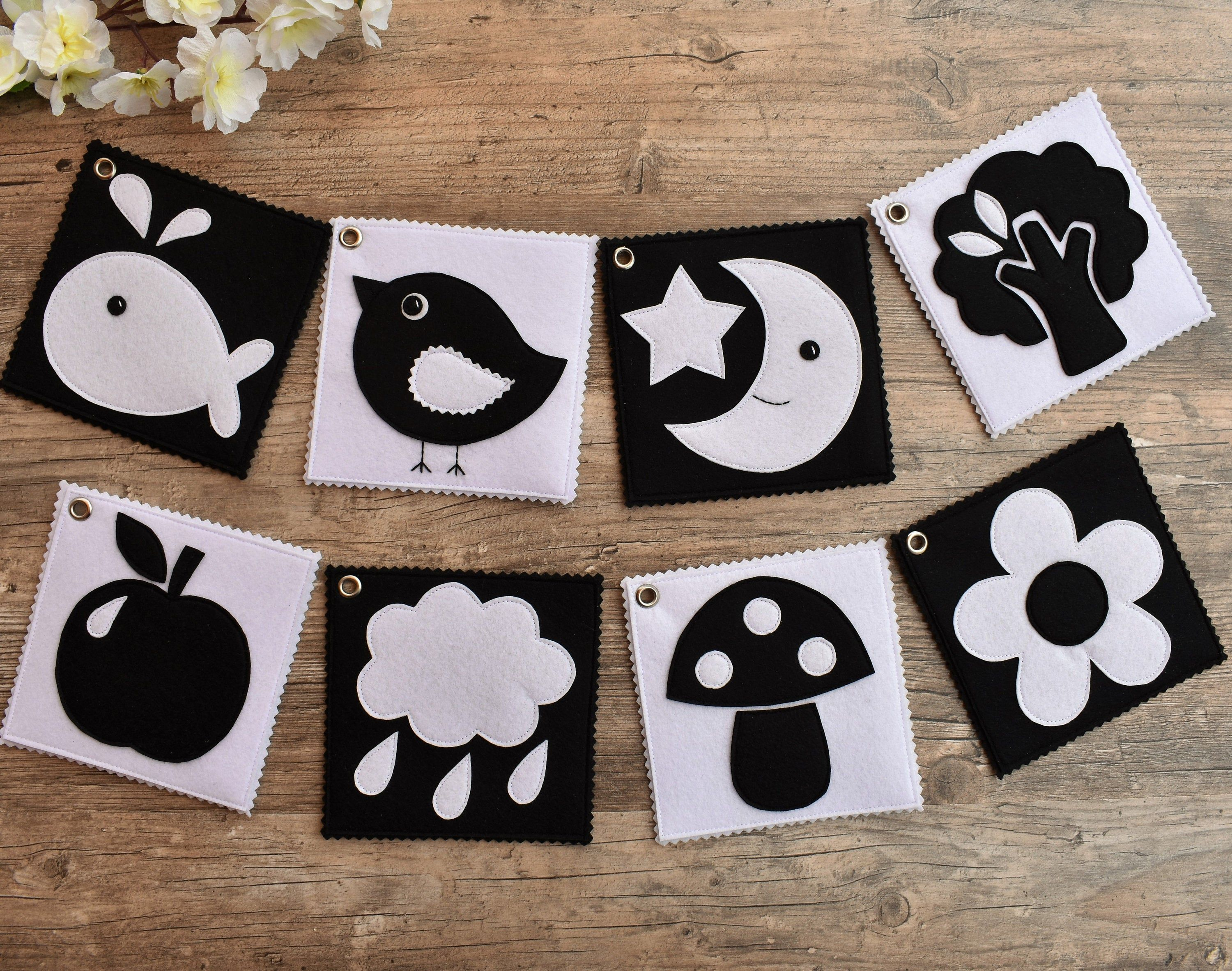 Felt Cards Black And White For Newborn Pdf Pattern High Contrast