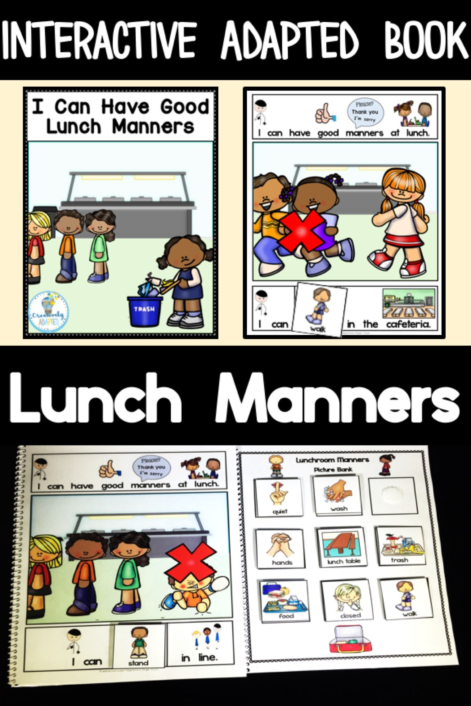 Adapted Book Social Skills Lunch Manners Prek 2 Sped
