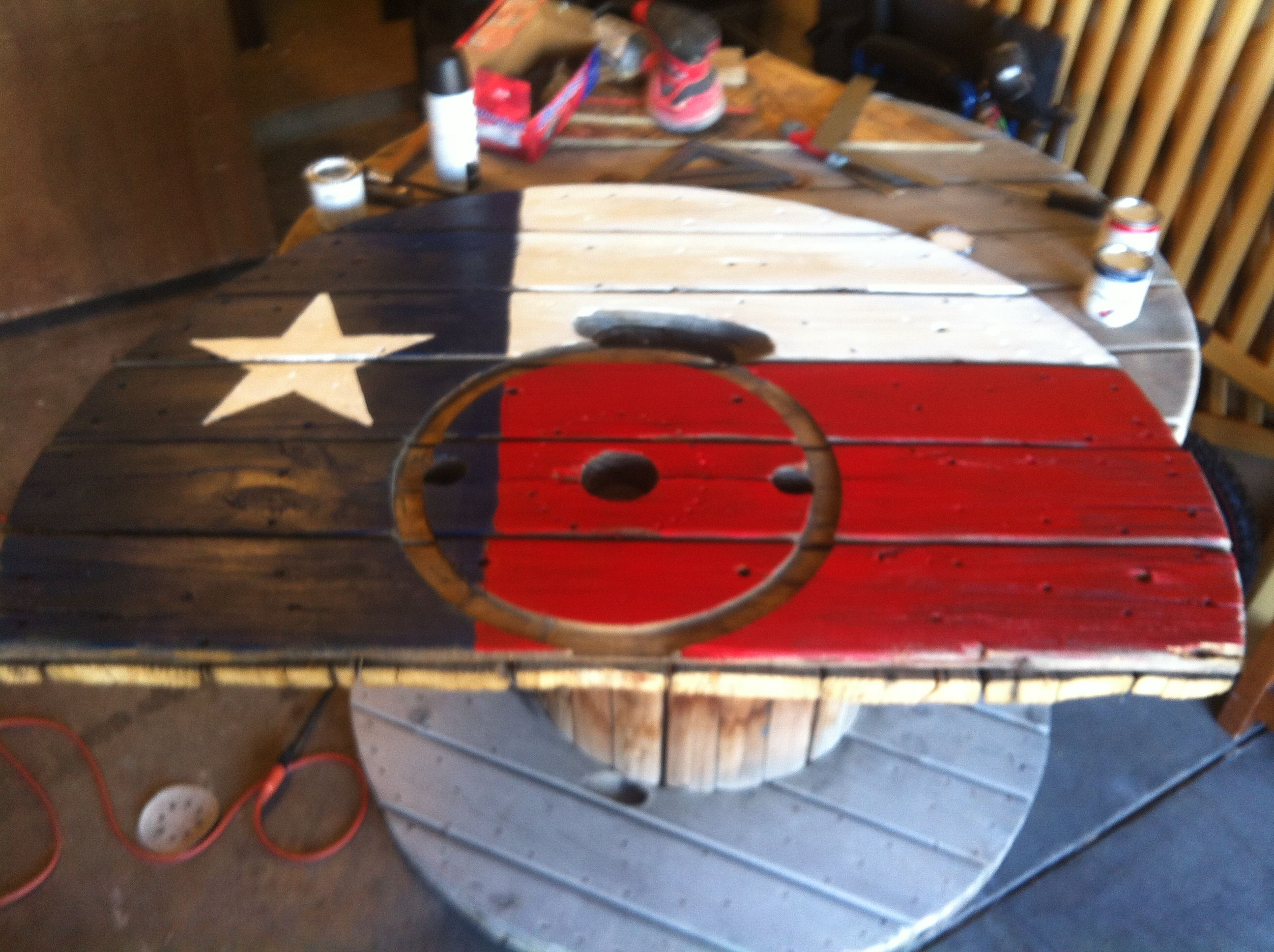 Large wooden spools for crafts - Texas Flag Made From The Top Of A Large Wooden Spool